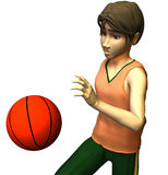 3d Basketball player. 3d young male basketball player in American cartoon style Stock Images
