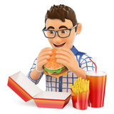 3D Young man eating a hamburger with fries and drink. Fast food Stock Images