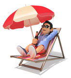 3D Young man in shorts in the beach drinking beer. 3d young people illustration. Man in shorts on a deckchair in the beach drinking beer. White background Stock Photos