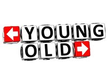 3D Young Old Button Click Here Block Text Stock Photography