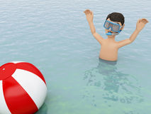 3d young people with beach ball in water. 3d illustration. Young people with beach ball in the sea. Summer vacation concept Royalty Free Stock Photos