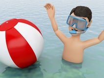 3d young people with beach ball in water. 3d illustration. Young people with beach ball in the sea. Summer vacation concept Royalty Free Stock Photo