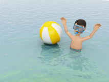 3d young people with beach ball in water. 3d illustration. Young people with beach ball in the sea. Summer vacation concept Stock Photos
