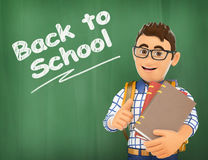 3D Young student back to school on a chalk Stock Images