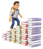 3D Young student climbing a books bar graph. 3d education people. Young student climbing a books bar graph. White background Royalty Free Stock Photo