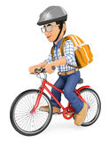 3D Young student going to school by bike Royalty Free Stock Photo