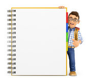 3D Young student with a huge blank notepad Royalty Free Stock Photos