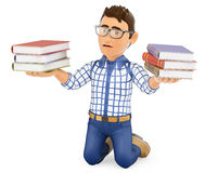 3D Young student punished holding books Stock Photography