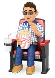 3D Young teen in the cinema with popcorn and drink. 3d young people. Young teen in the cinema with popcorn and drink. White background Stock Photo