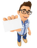3D Young teenager showing a blank card Royalty Free Stock Image