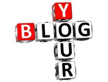 3D Your Blog Crossword. On white background Stock Image