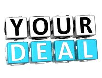 3D Your Deal Button Click Here Block Text. Over white background Stock Photos