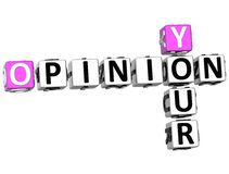 3D Your Opinion Crossword Stock Image