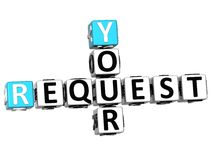 3D Your Request Crossword text. 3D Your Request Crossword on white background Royalty Free Stock Photos
