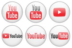 3D YouTube icon collection royalty free illustration