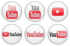 3D YouTube ikony kolekcja obrazy royalty free