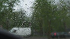 D?d?ysta i wietrzna pogoda podczas gradu i - widok od ciep?ego samochodu przez przedniej szyby okno z podeszczowymi kroplami zdjęcie wideo