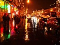 D?d?ysta pogoda w St Petersburg Ponury i d?d?ysty miasto na Neva rzece Szczeg??y w g?r? i zdjęcia stock