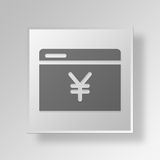 3D yuan browser icon Business Concept. 3D Symbol Gray Square yuan browser icon Business Concept Stock Images