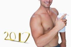 3D Złożony wizerunek bodybuilder mienia kolba zdjęcia royalty free