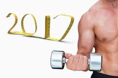 3D Złożony wizerunek bodybuilder podnośny dumbbell zdjęcia stock