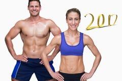 3D Złożony wizerunek bodybuilding para fotografia stock
