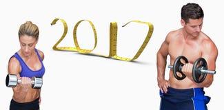 3D Złożony wizerunek bodybuilding para obrazy stock