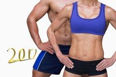 3D Złożony wizerunek bodybuilding para obrazy royalty free