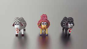 3D Złoci baranki! Szczęśliwy nowy rok! ilustracja wektor