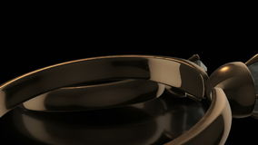3D Złoci pierścionki w Czarnym tle z Wybuchającymi diamentami royalty ilustracja