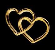 3d złoci serca łączący wpólnie Fotografia Stock