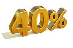 3d 40 złoto Czterdzieści procentów rabata znak Zdjęcia Stock