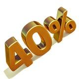 3d 40 złoto Czterdzieści procentów rabata znak Zdjęcie Royalty Free