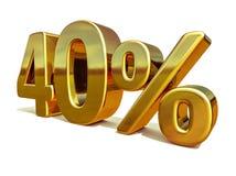 3d 40 złoto Czterdzieści procentów rabata znak fotografia stock