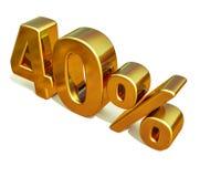 3d 40 złoto Czterdzieści procentów rabata znak Zdjęcia Royalty Free