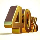 3d 40 złoto Czterdzieści procentów rabata znak fotografia royalty free