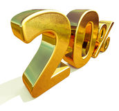 3d 20 złoto Dwadzieścia procentów rabata znak Fotografia Stock