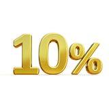 3d 10 złoto Dziesięć procentów rabata znak Obrazy Stock