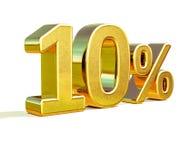 3d 10 złoto Dziesięć procentów rabata znak Zdjęcia Stock