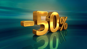 3d -50% złoto, Minus Pięćdziesiąt procentów rabata znak Zdjęcie Royalty Free