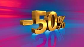 3d -50% złoto, Minus Pięćdziesiąt procentów rabata znak Zdjęcia Royalty Free