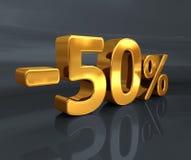3d -50% złoto, Minus Pięćdziesiąt procentów rabata znak Zdjęcia Stock