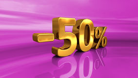 3d -50% złoto, Minus Pięćdziesiąt procentów rabata znak ilustracji