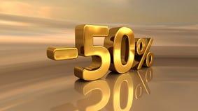 3d -50% złoto, Minus Pięćdziesiąt procentów rabata znak Fotografia Royalty Free