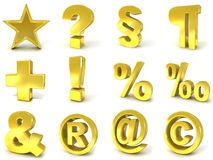 3D złoci znaki i symbole Obraz Stock
