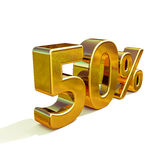 3d 50 złota procentu znak Obrazy Stock