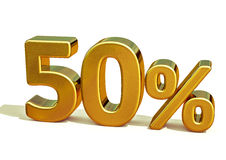 3d 50 złota procentu znak Zdjęcia Stock
