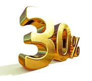3d złoto 30 procentów rabata znak Fotografia Royalty Free