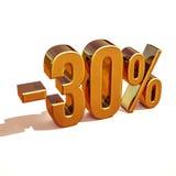 3d złoto 30 procentów rabata znak Obrazy Royalty Free