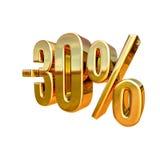 3d złoto 30 procentów rabata znak Obraz Stock
